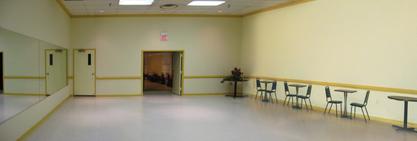 The smaller ballroom opens into the main ballroom, but can be closed off as necessary.