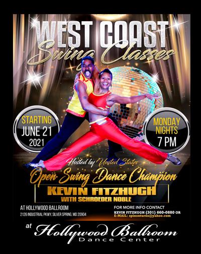 Kevin Fitzhugh and Schroeder Nobel teach West Coast Swing at Hollywood Ballroom